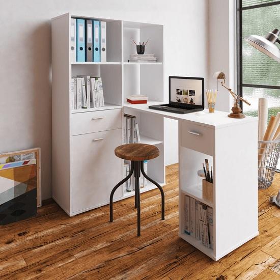 Mineson íróasztal szekrénnyel fehér 1