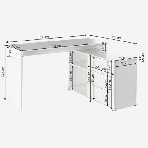 erino sarok íróasztal fehér 3