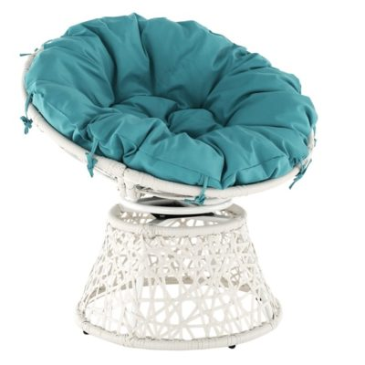 Triss rattan forgófotel fehér-kék